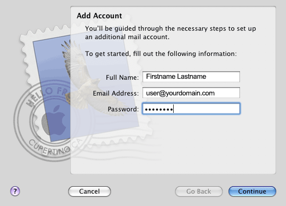 Mac Mail Add Account
