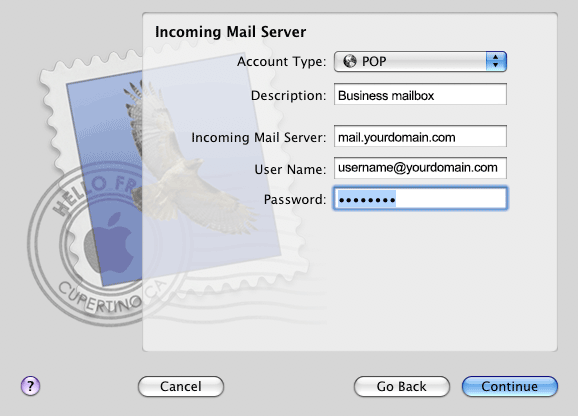 MacMail account type