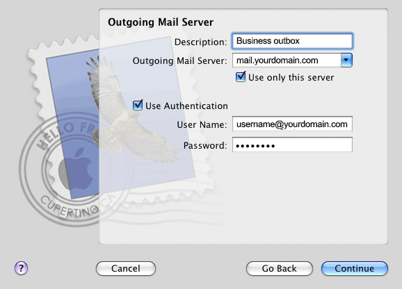 Mac Mail Outgoing settings