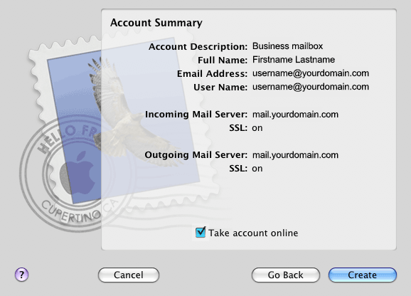 Mac Mail Create Account
